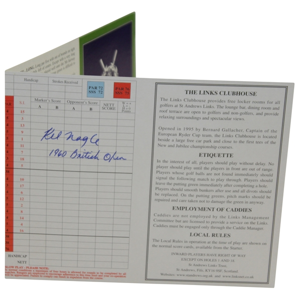 Kel Nagle Signed St. Andrews The Old Course Scorecard with '1960 British Open' JSA ALOA