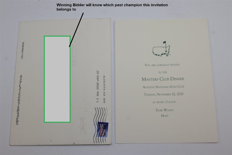 2020 Masters Champions Club Dinner Invitation Hosted by Tiger Woods with Envelope - Wow!