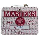 1986 Masters tournament SERIES Badge #A3166 - Jack Nicklaus 6th Green Jacket!
