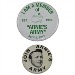Two Arnies Army Pins - Join Arnies Army & I Am A Member of Arnies Army Masters Commemorative