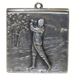 Vintage Sterling Silver Stamp Box with Golfer on the Links Depiction