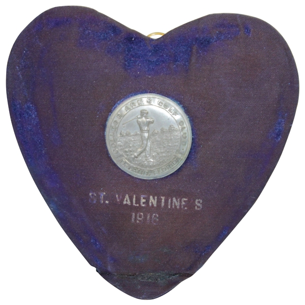 Unique 1916 College Arms Golf Club Valentine's Day Award Medal with Heart Shaped Blue Velvet Backing