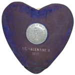 Unique 1916 College Arms Golf Club Valentines Day Award Medal with Heart Shaped Blue Velvet Backing