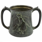Vintage 1908 Hibernia Golf Club Womens Two-Handled Trophy Mug with Unique Green Wash Finish