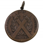 Vintage 1922 Algonquin Golf Club F.W. Thompson Cup Bronze Medal with X Shaped St Andrews Cross