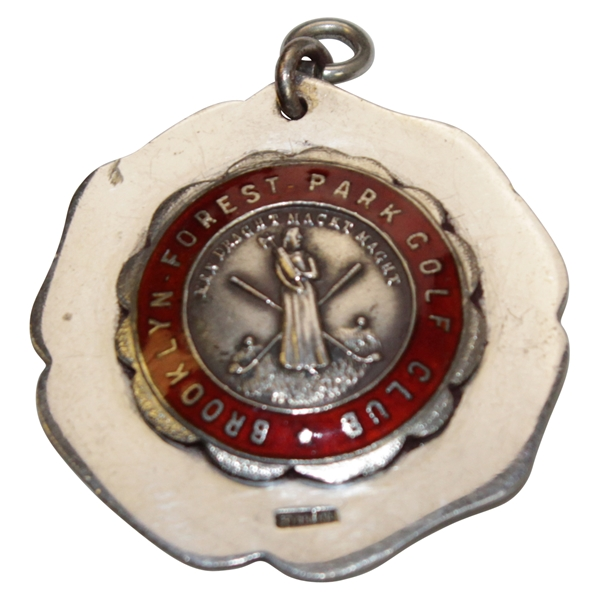 Vintage Brooklyn Forest Park Golf Club Sterling Silver Medal with Enameling & Decorative Disc