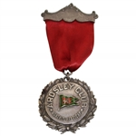 Circa Early 1890s Ardsley Club Monthly Handicap Medal with Decorative Pin & Ribbon - Enameled Flag