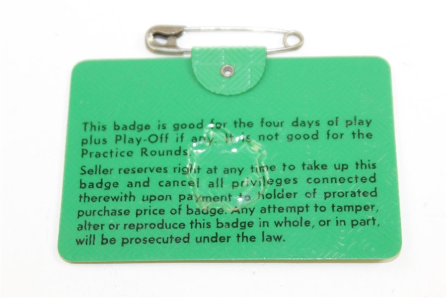 1968 Masters Tournament SERIES Badge #16905 - Bob Goalby Winner