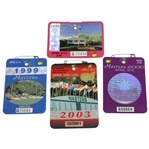 1998, 1999, 2000, & 2003 Masters Tournament SERIES Badges - OMeara, Olazabal, Singh, & Weir