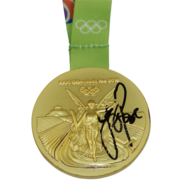 Justin Rose Winner Signed Replica 2016 Rio Olympics Gold Medal with Ribbon JSA #HH17245