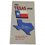 1961 Texas Open at Oak Hills Country Club Official Program - Arnold Palmer Winner