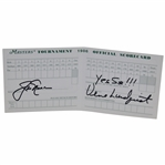 "Jack Nicklaus & Verne Lundquist Signed 1986 Masters Scorecard W/Notation ""Yes Sir!"" JSA ALOA"