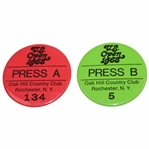 Two 1968 US Open at Oak Hill Country Club Press Badges - A #134 & B #5