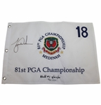 Tiger Woods Signed 1999 PGA at Medinah Embroidered White Flag Ltd Ed 33/500 UDA #BAM54433