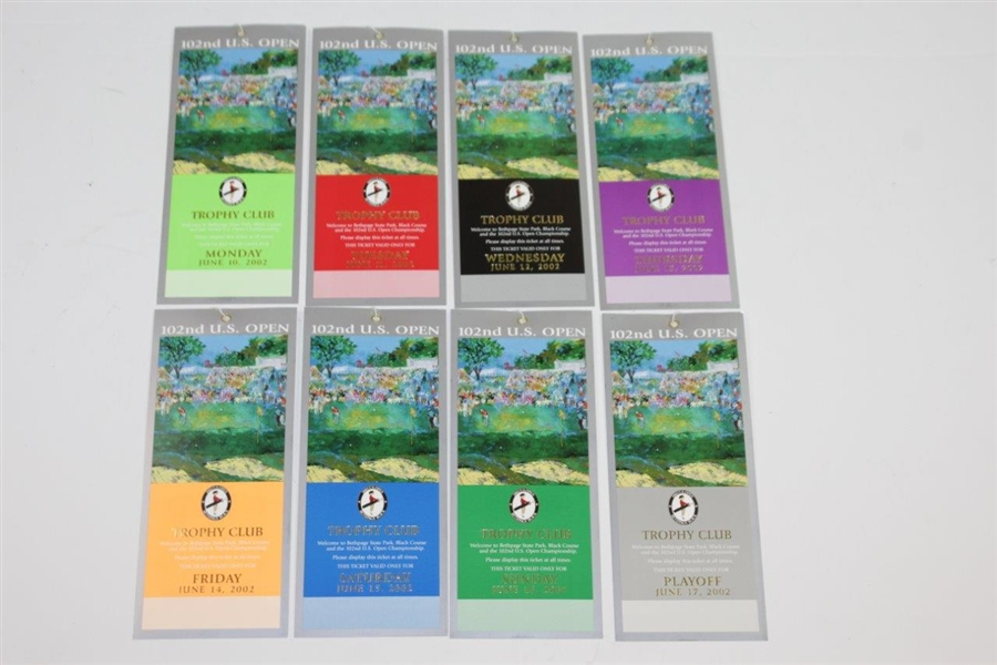 2002 US Open at Bethpage Black Full Ticket Set with Official Scorecard - Tiger Win!