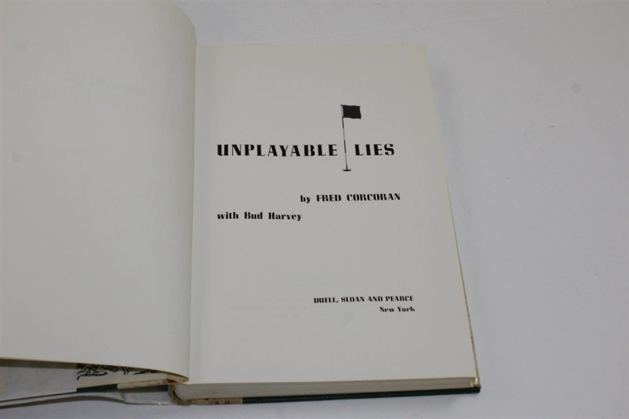 1965 'Unplayable Lies' Book by Fred Corcoran with Bud Harvey