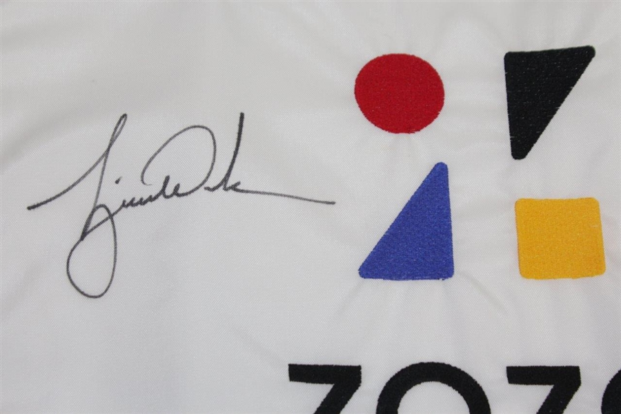 Tiger Woods Signed ZOZO Championship Embroidered Flag Ltd Ed 56/500 UDA #BAM116619