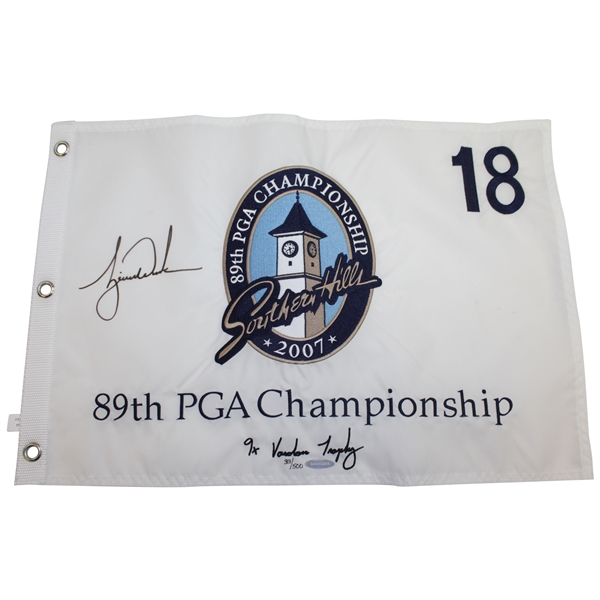 Tiger Woods Signed 2007 PGA Championship Embroidered Flag Ltd Ed 33/500 UDA #BAM54624