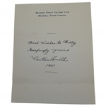 Horton Smith Signed & Dated Best Wishes Note on Biltmore Forest CC Letterhead JSA ALOA