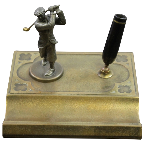 Vintage Silver Crest Real Bronze Post-Swing Golfer with Gold Clubhead Pen Holder Display