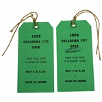 Two 1959 Oklahoma City Open Series Tickets with Strings - Arnold Palmer Win