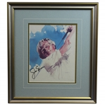 Jack Nicklaus Signed Post-Swing Portrait Watercolor Print - Framed JSA ALOA