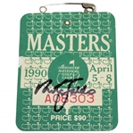 Nick Faldo Signed 1990 Masters Tournament SERIES Badge #A08303 JSA ALOA
