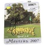 Zach Johnson Signed 2007 Masters Tournament SERIES Badge #Q09671 JSA ALOA
