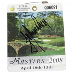 Trevor Immelman Signed 2008 Masters Tournament SERIES Badge #Q06091 JSA ALOA
