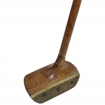 Circa 1907 Slazenger The Travis Wooden Head with Brass Face & Sole Mallet Putter