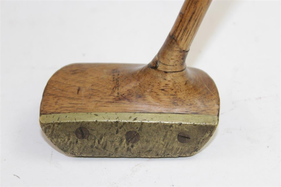 Circa 1907 Slazenger 'The Travis' Wooden Head with Brass Face & Sole Mallet Putter
