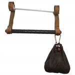 Vintage Hand-Held Golf Club Carrier with Rawhide Straps & Leather Golf Ball Pouch