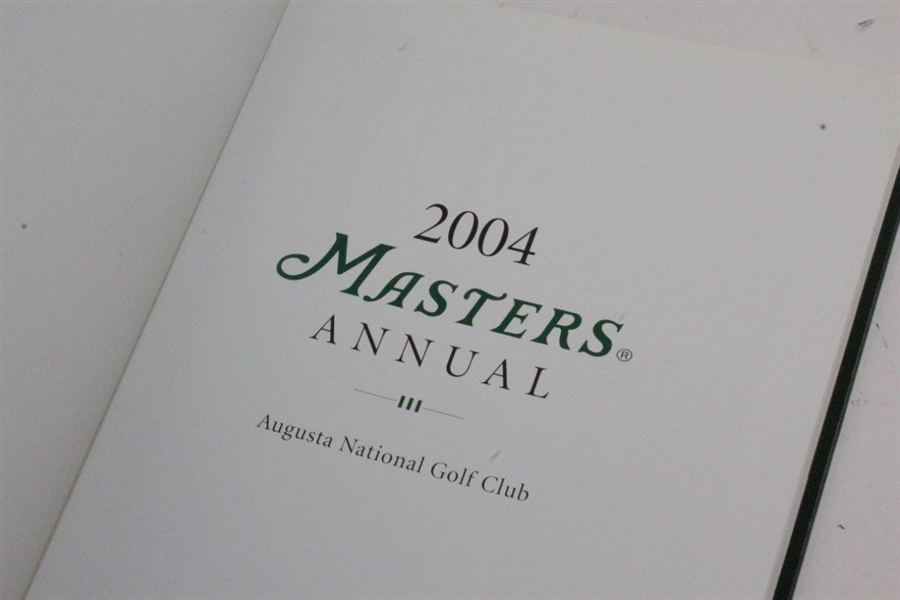 2000, 2003, & 2004 Masters Tournament Annual Books - Singh, Weir, & Mickelson Winners