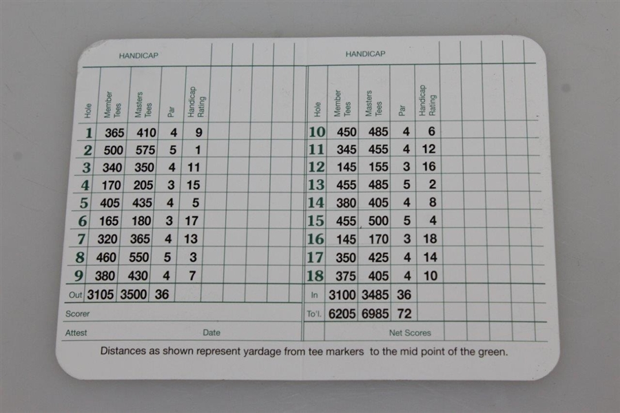 Sixteen (16) Augusta National Golf Club Blank Scorecards - Steve Jones Collection
