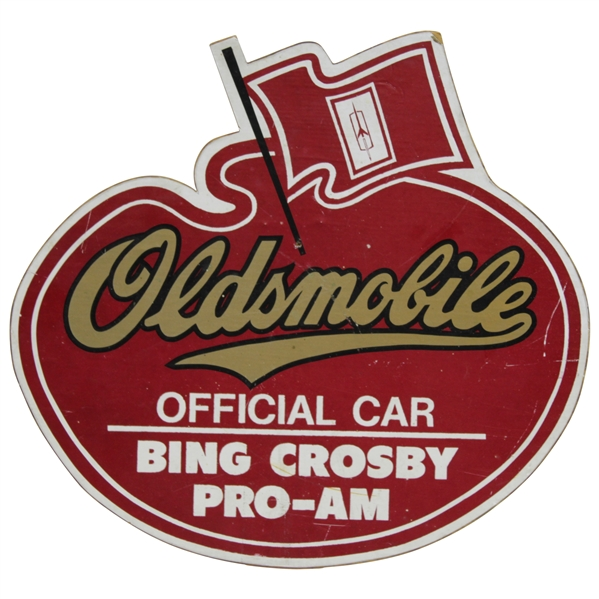 Classic Bing Crosby Pro-Am Oldsmobile Advertising Sign - 14 x 12 1/2