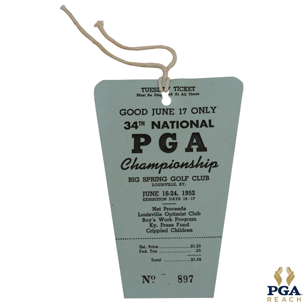 1952 PGA Championship at Big Spring Golf Club Tuesday Ticket #897 - Great Condition