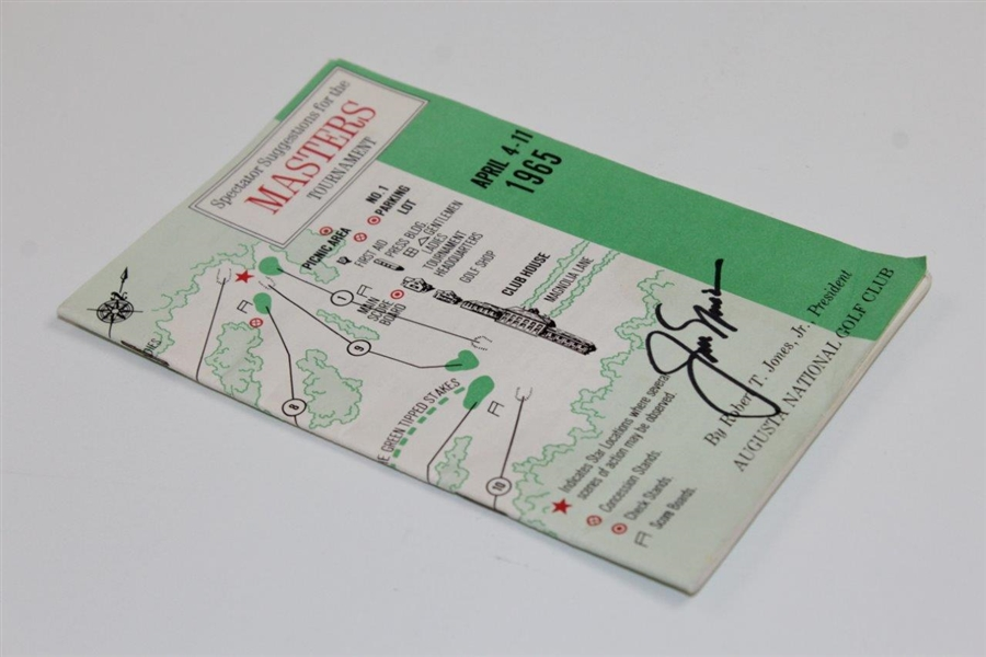 Jack Nicklaus Signed 1965 Masters Tournament Spectator Guide JSA ALOA