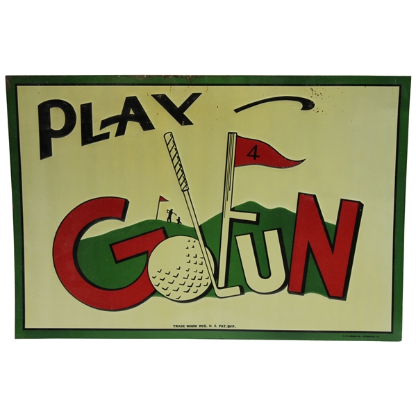 Vintage Metal 'Play Golfun' Advertising Sign by C. W. Larson Co., Pittsburgh, PA.