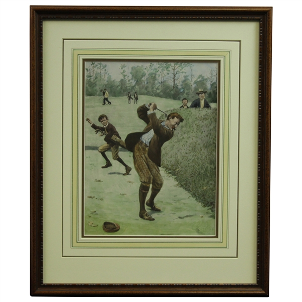 A.B. Frost Golf Print Hand-colored by Meredith Nemin - Framed