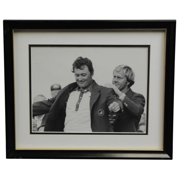 Ray Floyd Personal Framed Photo Receiving Green Jacket from Jack Nicklaus