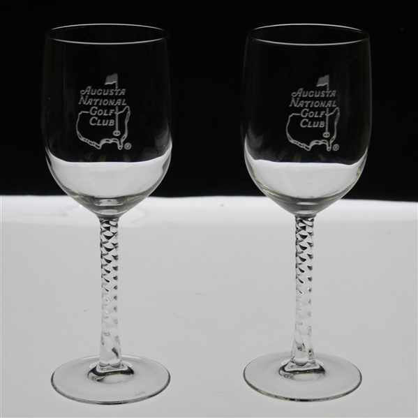 Pair of Augusta National Golf Club Logo White Wine Glasses