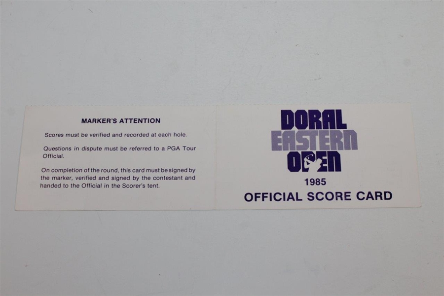 Jack Nicklaus Signed 1985 Doral-Eastern Open Official Scorecard - Marker JSA ALOA