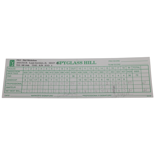Phil Mickelson Signed AT&T Pebble Beach Pro-Am at Spyglass Hill Official Scorecard JSA ALOA