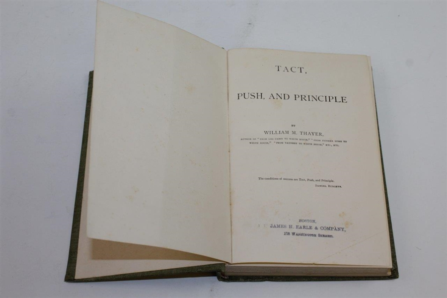 1889 'Tact, Push, and Principle' Book by William M. Thayer Featuring Golfer Cover