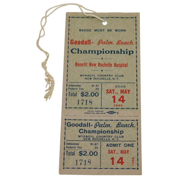 1949 Goodall-Palm Beach Championsihp Ticket #1718 - First Ever Network TV of Golf!