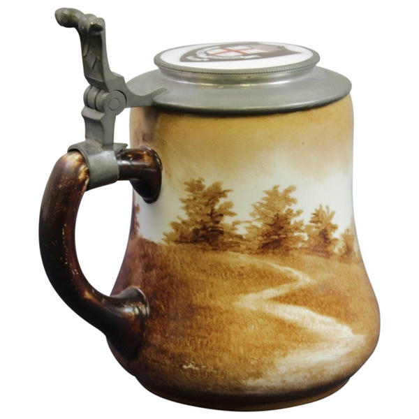 O'Hara Dial Co. Golf Themed Stein with a Manning Bowman Pewter/Ceramic Brown Univ. Lid - Special Thumbpull