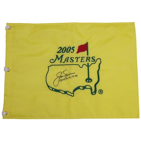 Jack Nicklaus Signed 2005 Masters Embroidered Flag with Years Won Inscription - Final Masters JSA ALOA