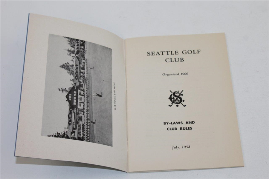 1952 Seattle Golf Club By-Laws and Club Rules Booklet - July