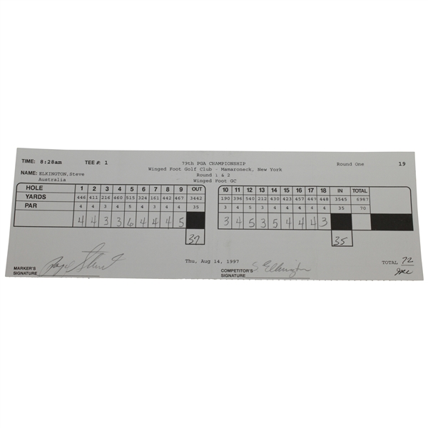 Payne Stewart Signed 1997 PGA at Winged Foot 1st Rd Scorecard - Marker JSA ALOA