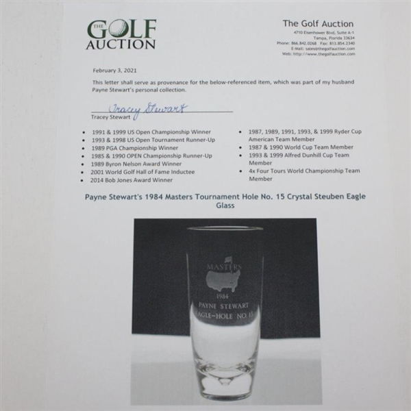 Payne Stewart's 1984 Masters Tournament Hole No. 15 Crystal Steuben Eagle Glass